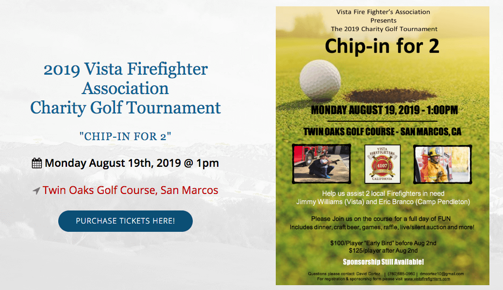 "Get them while they last!  Golf Tournament, ""Chip-in for2"" Aug 19th tickets on sale now!"
